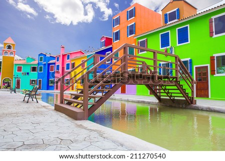 Colorful buildings with blue sky