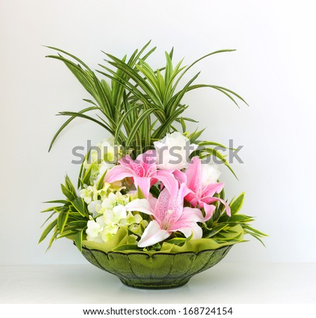 Colorful bunch of flowers in vase  - stock photo