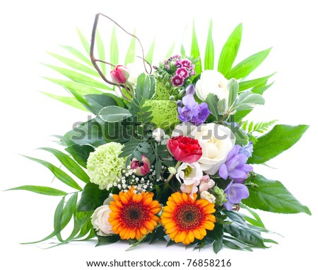 colorful bunch of flowers isolated on white background