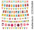 Colorful bunting and garland set. Raster version - stock vector