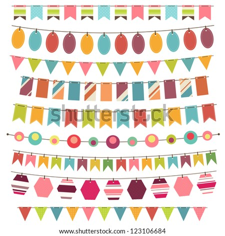 Colorful bunting and garland set. Raster version - stock photo