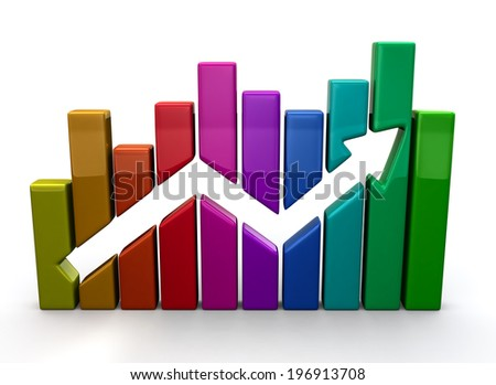Colorful business graph - stock photo