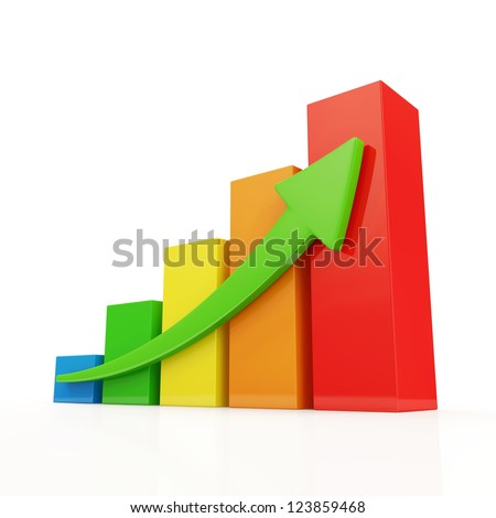 Colorful Business Graph on white background - stock photo