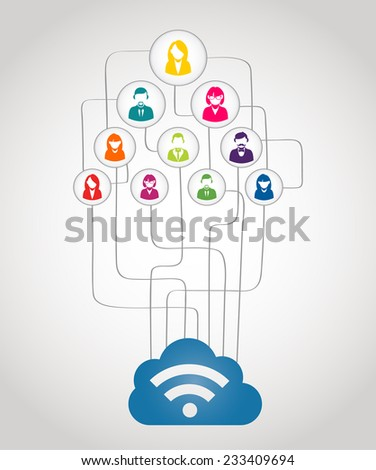 Colorful business network people concept with could computing diagram.  - stock photo