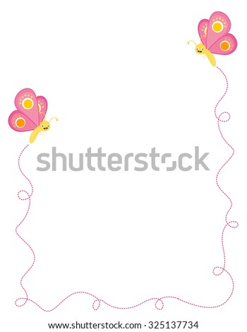 Colorful butterflies border / frame on white - stock photo