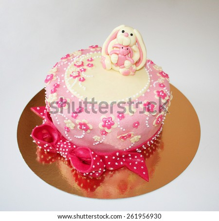 Colorful cake with decoration - stock photo