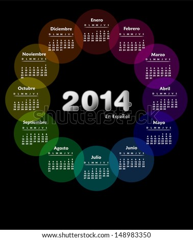 Colorful calendar for 2014 in spanish. Week starts on sunday - stock photo