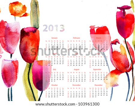 Colorful calendar for 2013 with Red Tulips flowers