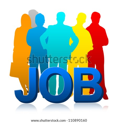 Colorful Candidate With 3d Job For Job Seeker Concept Isolated on White Background - stock photo