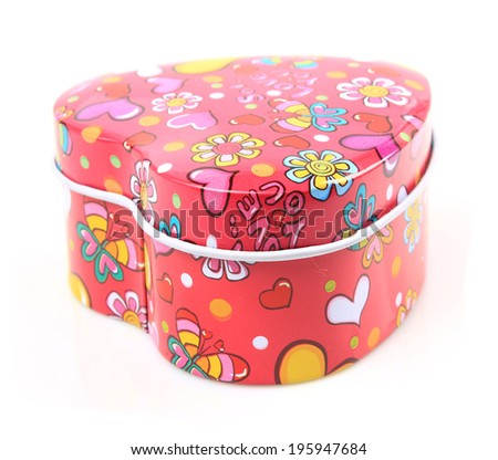 colorful candies in heart shape box for Valentine day