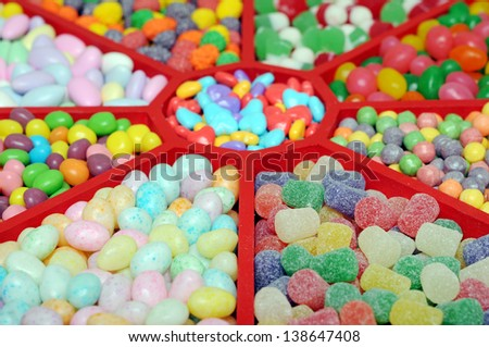 colorful candies in tray