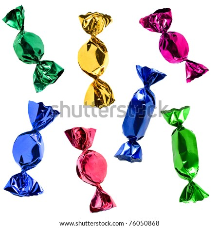 colorful candies set  isolated on white background - stock photo