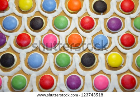 Colorful candy and icing pattern decoration