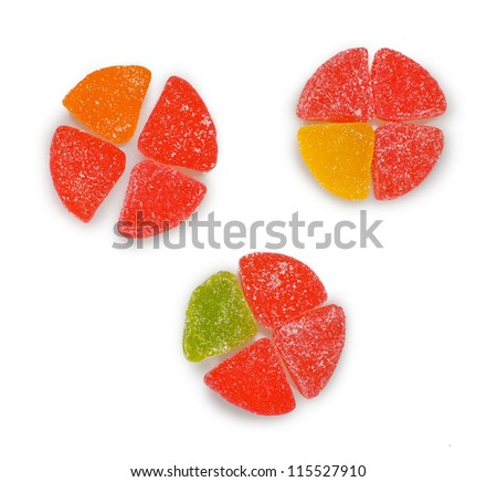 colorful candy diagram isolated on white - stock photo
