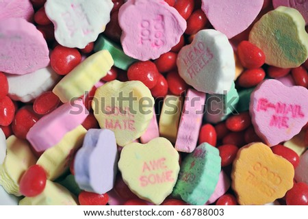 Colorful candy hearts 2 - stock photo