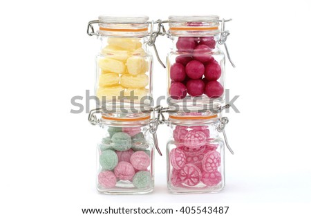 Colorful candy in jars