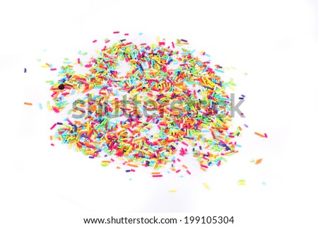 colorful candy sprinkles isolated on the white background - stock photo