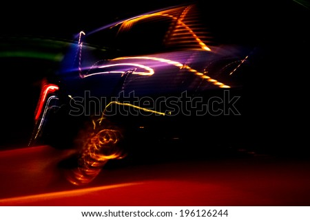 colorful car light streaks - long exposure - stock photo