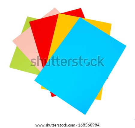 Colorful cardboard isolated on white - stock photo