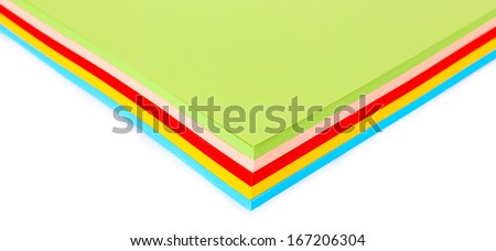 Colorful cardboard on white background - stock photo