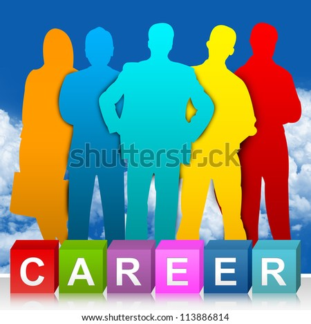 Colorful Career Cube Box And Colorful Candidate For Job Opportunities Concept  In Blue Sky Background - stock photo