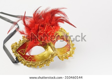 Colorful Carnival mask isolated on white background - stock photo