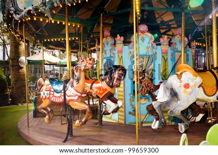 Colorful carousel in New York City's Bryant Park - stock photo