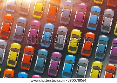 Colorful Cars Inventory. Dealership Cars in Stock 3D Illustration. Aerial View. - stock photo