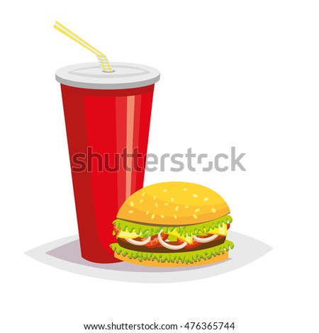 Colorful cartoon fast food icon on white background. Drink with a hamburger. Rasterized Copy