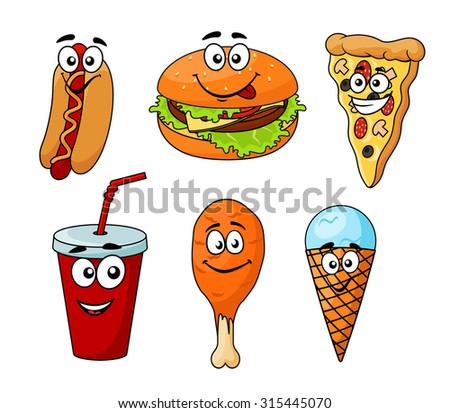 Colorful cartoon fast food icons with a hotdog, cheeseburger, pizza, soda, chicken wing and ice cream cone, isolated on white - stock photo