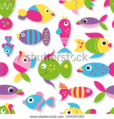 colorful cartoon fish collection pattern illustration