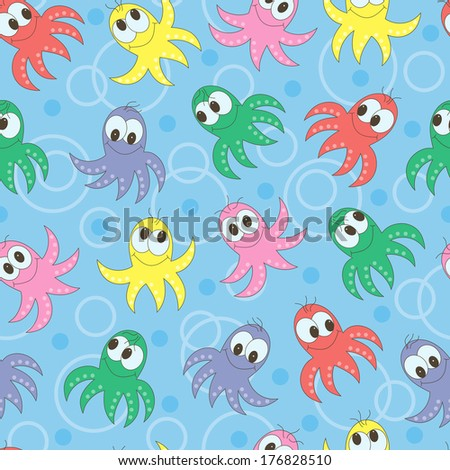 Colorful cartoon octopuses seamless pattern