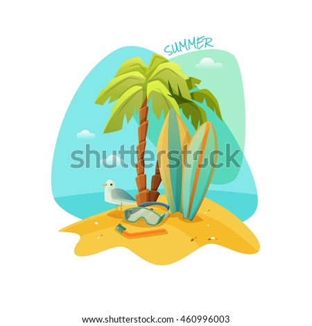 Colorful cartoon poster for the beach recreation. The best summer. illustration