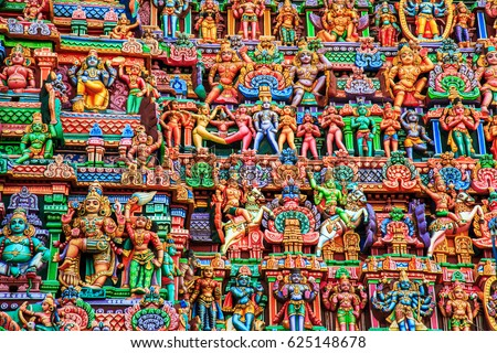 Colorful carved walls of the temple in Tamil Nadu state, South India.