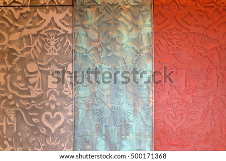 Colorful carved Wooden art Surface Wall