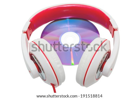 Colorful casual wired headphones and multimedia disc isolated on white - stock photo
