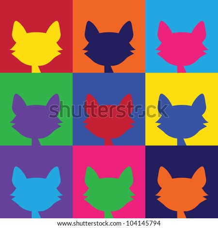 Colorful Cats - stock photo