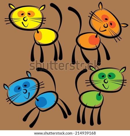 colorful cats isolated on a brown background