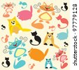Colorful cats. Raster version. - stock photo