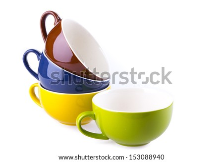 colorful ceramic cup on white background