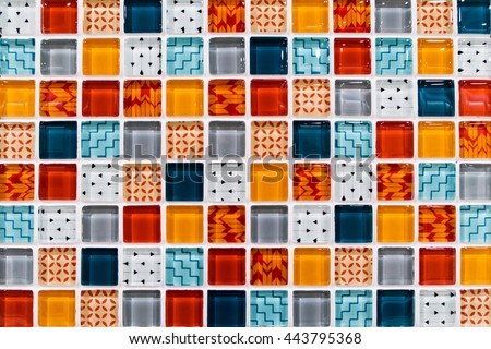 colorful ceramic mosaic tiles white light blue grey blue orange - Mosaic Tiles