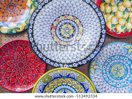 Colorful Ceramic Plates on Display in a Market in Positano Italy