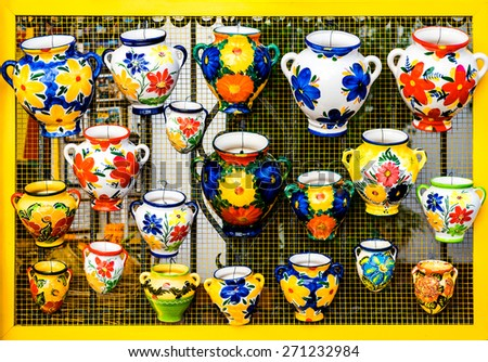Colorful ceramic pots in Mijas, Andalusian town on the Costa del Sol. Spain  - stock photo