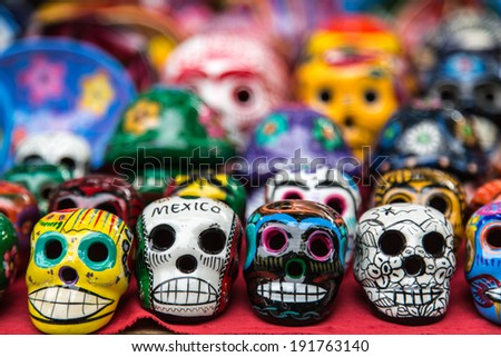 Colorful ceramic skulls for sale at Chichen-Itza, Mexico - stock photo