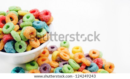 Colorful cereal on white background