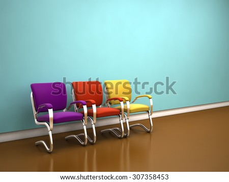 colorful chairs near blue wall