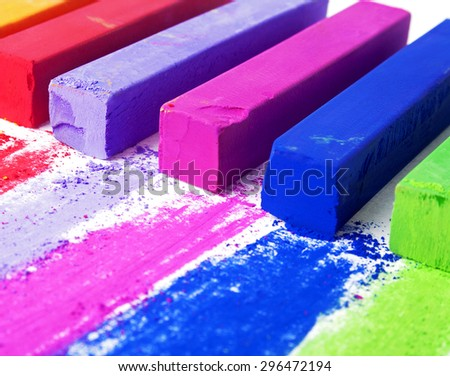 Colorful chalk pastels - stock photo