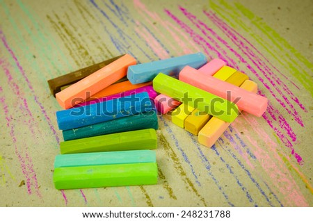 Colorful chalk pastels - arts, education, creative, back to school - stock photo