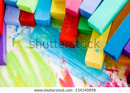 Colorful chalk pastels - education, creative, back to school - stock photo