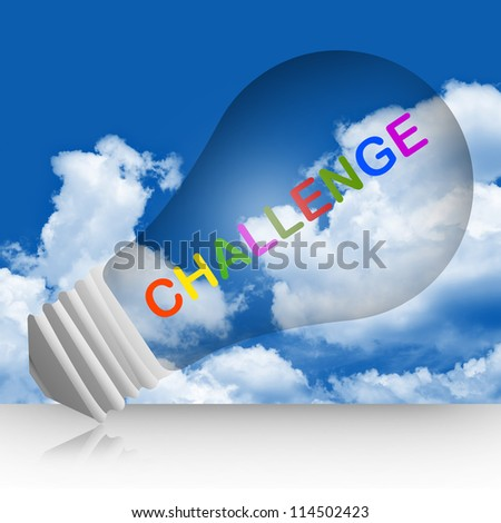 Colorful Challenge Text Inside The Light Bulb For Business Concept in Blue Sky Background